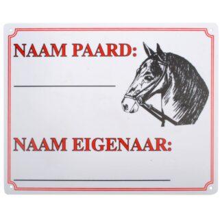 Bord: naam paard + afbeelding